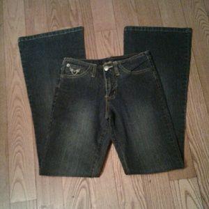 Angels Dark Wash Flare Leg Jeans Stretch